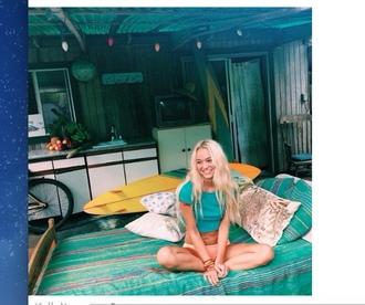 home accessory bedding boho surf green blonde hair