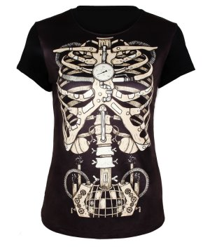 Wooden Skeleton Skull Personalized Printing Black Steampunk Retro T-shirt [Black Steampunk Retro T-shirt] - $59.00 : Unique Design Steampunk Fashion Online Shop