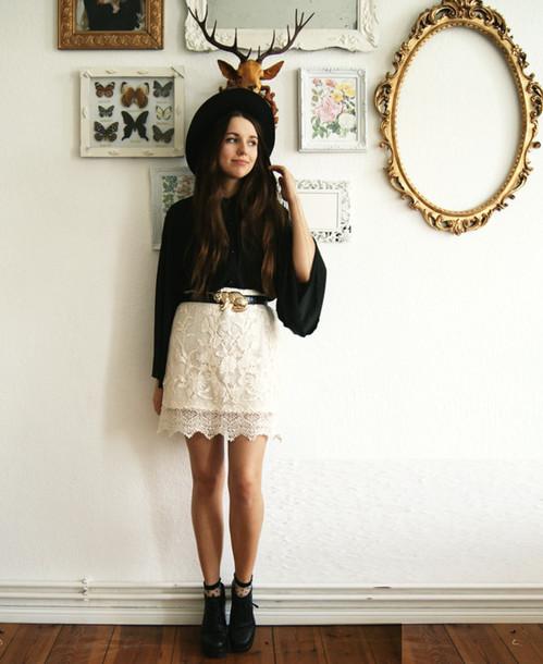 cruel thing blouse skirt shoes hat belt