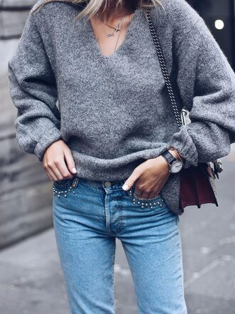 sweater tumblr grey sweater knit knitted sweater denim jeans blue jeans embellished denim embellished