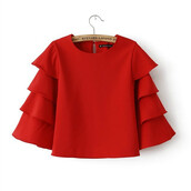 top,blouseb,blouse,ruffle blouse,ruffleblouse,clothes,red,shirt,t-shirt,skirt,dress
