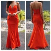 dress,orange dress,long dress,long prom dress,plum dress,strapless dress,strapless,maxi dress,back zip dress