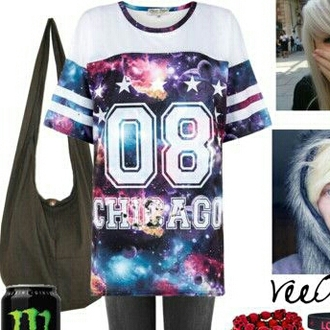 shirt galaxy shirt striped shirt white t-shirt number tee jersey stars space cute top love it find it please