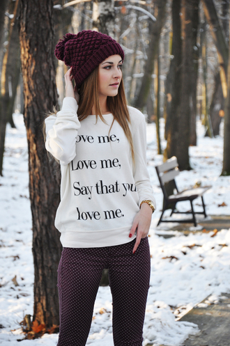 sweater love textured sweater pom pom beanie quote on it burgundy jeans beautymanifesto love quotes valentines day white hat warm cute warm sweater winter sweater fall outfits shirt beanie pants fashion style outfit lyrical music girly white sweater sweatshirt black black quote jacket