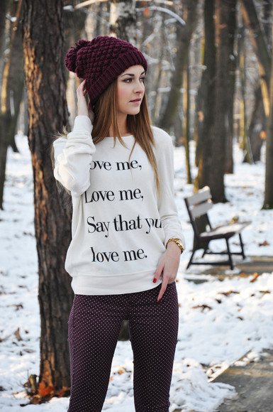 quote on it fall outfits justin bieber sweater love sweather textured sweater pom pom beanie quote on it burgundy jeans beautymanifesto white love me love me hat warm words on shirt simple cute warm sweater winter sweater