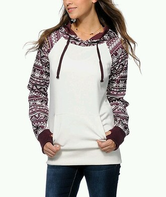 jacket hoodie aztec burgundy white aztec hoodie sweater jumper fashion style pattern purple cool casual outfit fall outfits clothes cozy warm winter outfits sporty girly girl girly wishlist