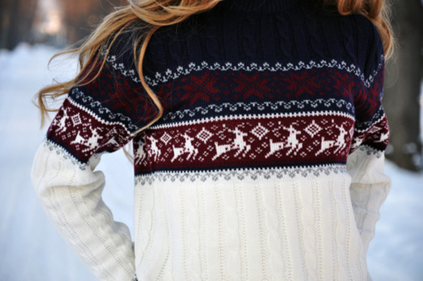 sweater christmas reindeer sweater ugly sweater ugly christmas sweater white red blue snowflake women