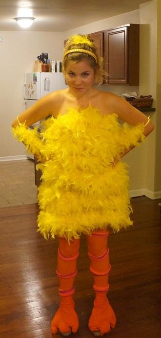 blogger t-shirt cartoon yellow feathers halloween costume birds big bird dress socks