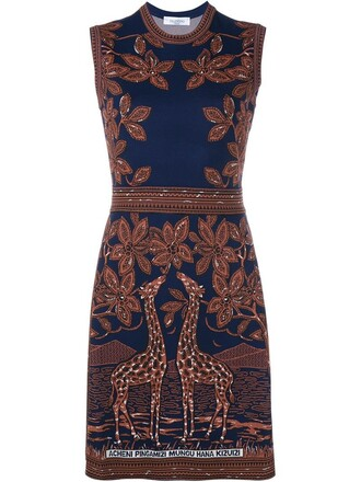 dress sleeveless jacquard giraffe