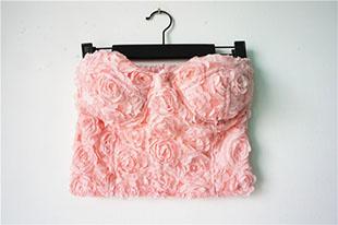 Crochet crop top women /2015 new rose floral spaghetti strap crop top vintage bustier crop tops