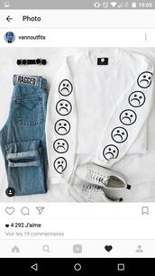 sweater,sad,emoji print,pop,white,black,sweat,grunge,cool,american
