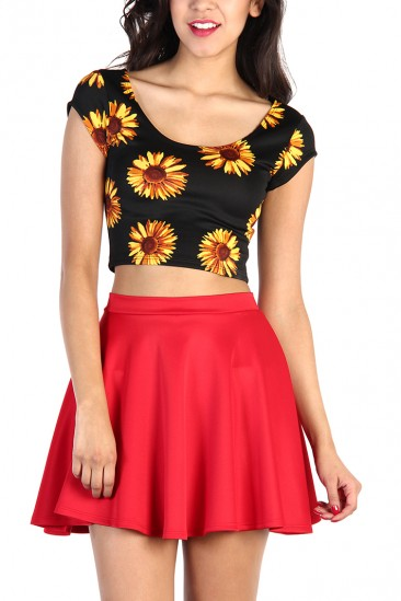 LoveMelrose.com From Harry & Molly | Sunflower Crop Top - Black