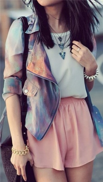 jacket faux multi colored pastel leather jacket shorts jewels blouse
