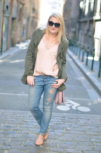 paris grenoble blogger silk ballet flats parka silk top