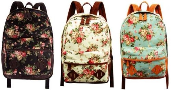 Women Fashion Vintage Cute Flower School Book Campus Bag Backpack ...