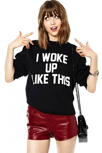jumpsuit hoodie black hoodie i woke up like this sweater sweatshirt black beyonce