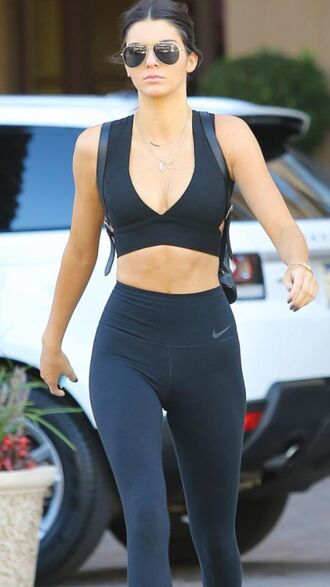 kendall jenner jewels necklace gold necklace gold sportswear leggings celebrity sports bra nike leggings nike sneakers warby parker sunglasses