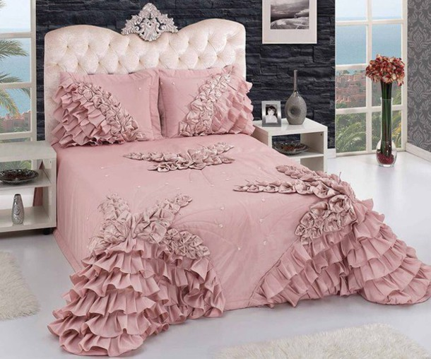 Home Accessory Dusty Pink Ruffle Bedding Bedroom
