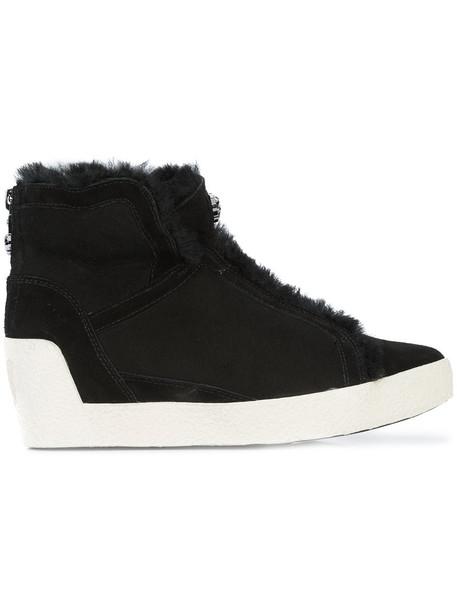 women sneakers leather black wedge sneakers shoes
