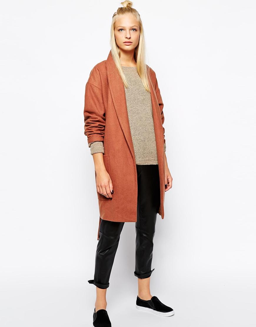 Selected becca wrap coat with belt at asos.com