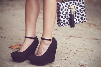 shoes high heels black wedges strap
