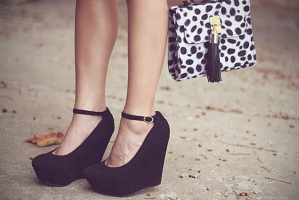 shoes wedges black straps heels