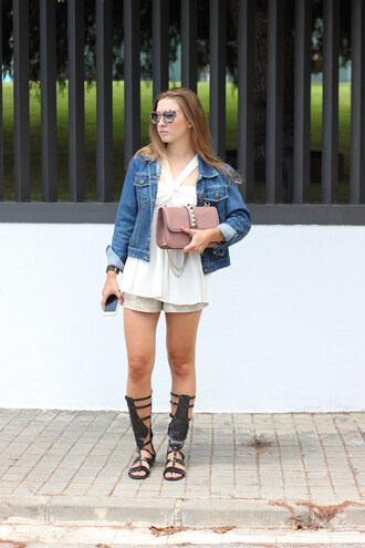 say queen blogger shorts white top denim jacket gladiators leather bag studded bag
