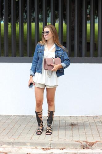 say queen blogger shorts white top denim jacket gladiators leather bag studded bag