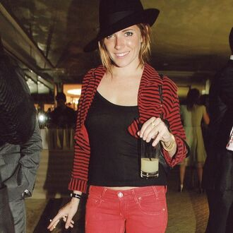 jeans red jeans red denim black top black and red stripes