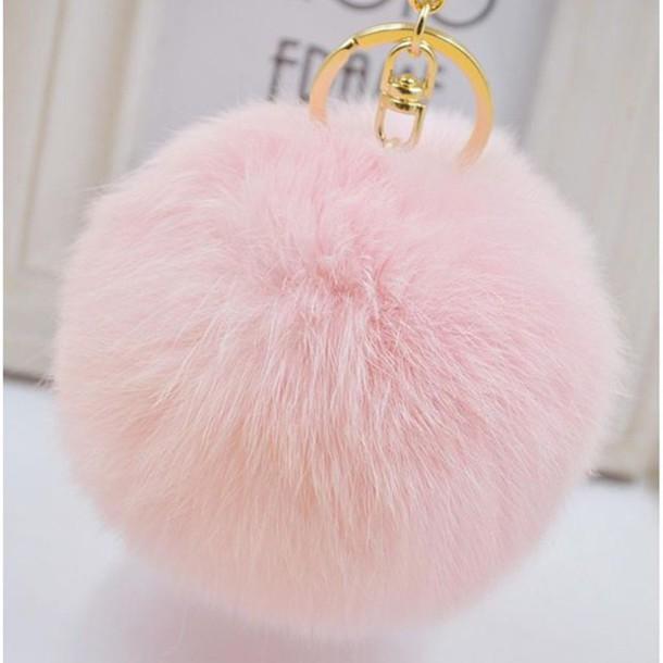 her teen dream keychain bag accessories handbag baby pink fluffy faux fur  fur keychain 2c7046da6e1e