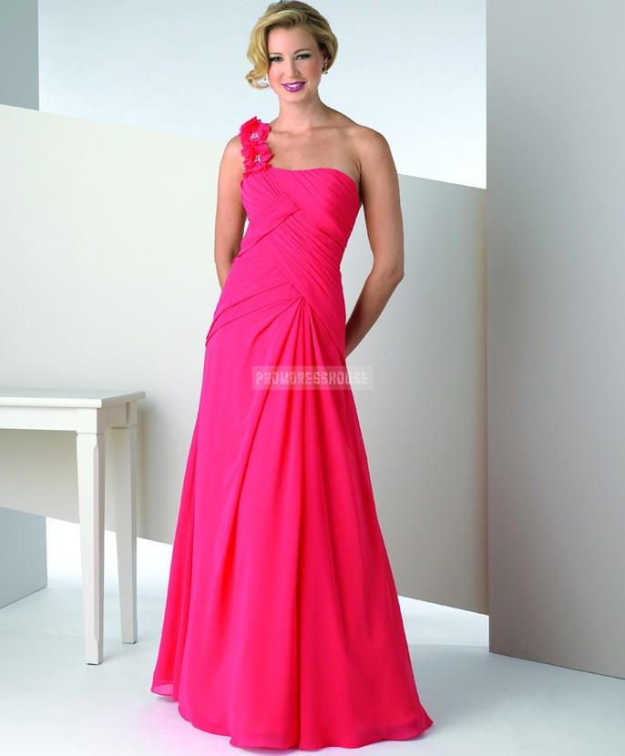 Chiffon Flower Ruching Pink One Shoulder Evening Dress - Promdresshouse.com