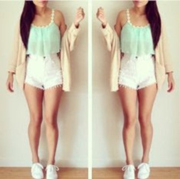 cardigan shorts top