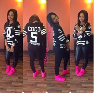 chanel top black and white shirt coco channel pink sneakers high top sneaker