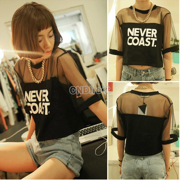 Women's Letter Print Tops Loose Short Sleeve Mesh Drop Shoulder O-Neck T Shirt