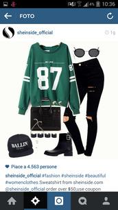 jumpsuit,green,felpa,87,sweet,sweatshirt,shoes,basketball t-shirt