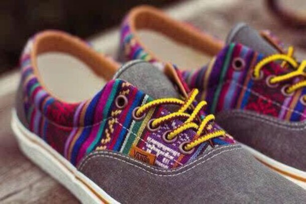 shoes tribal pattern multicolor grey vans