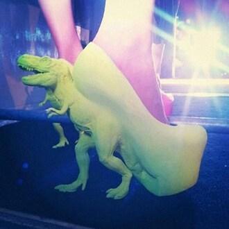 shoes heels green pumps platform shoes t-rex dinosaur jeans