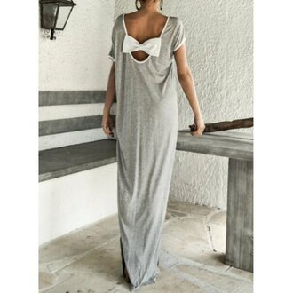 dress maxi dress maxi gray grey grey dress grey maxi dress bow back dress bow back