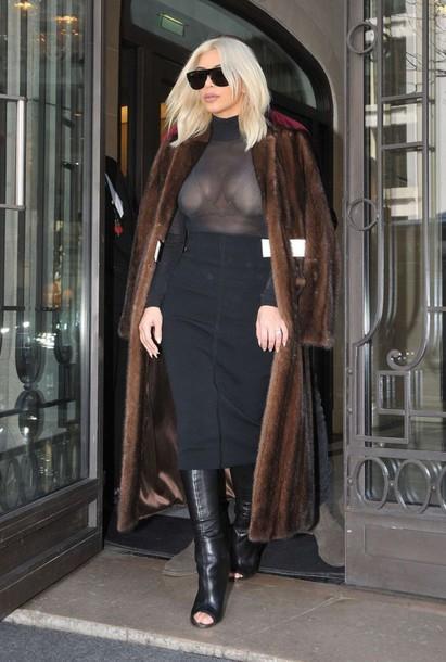 skirt kim kardashian fashion week 2015 fur coat blouse sheer blouse top