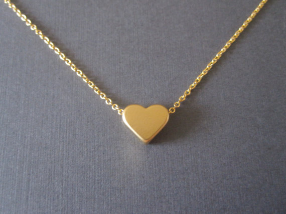 Gold Heart Necklace by BeasJewels on Etsy