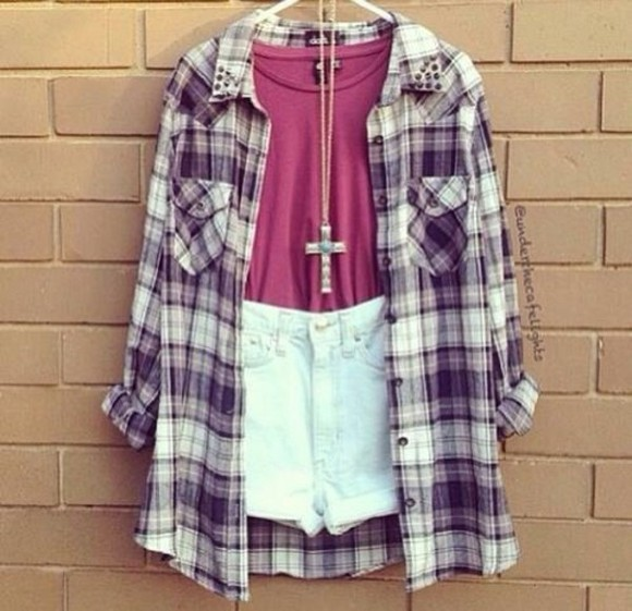 shirt cross necklace shorts plaid shirt red high waisted short