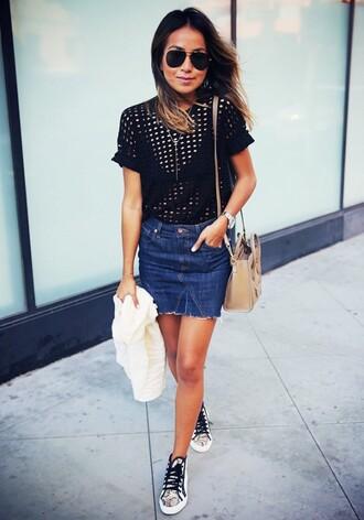 skirt mini skirt denim skirt denim sincerely jules blogger top blogger lifestyle sneakers bag celine bag celine black top mesh top sunglasses aviator sunglasses