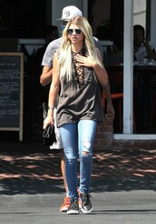 top,jeans,sneakers,sunglasses,sofia richie,lace up