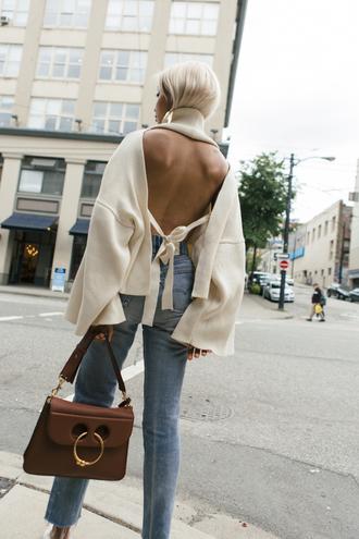 sweater tumblr open back backless denim jeans blue jeans bag brown bag jw anderson bag