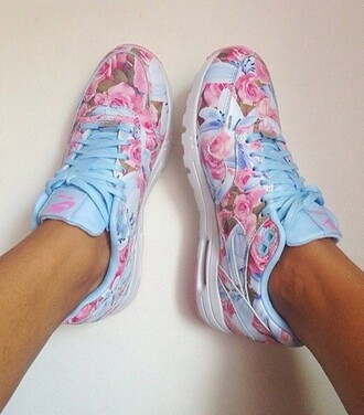 shoes nike nike air max  87 pink print light blue menswear woman sportswear snearker fashion