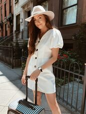 dress,white dress,short dress,buttons dress,hat,shoes,bag