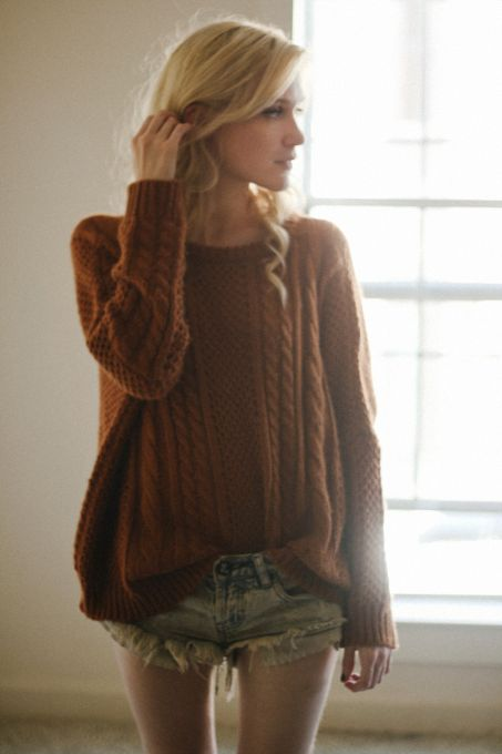 Coffee Batwing Long Sleeve Pullovers Sweater - Sheinside.com