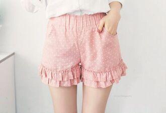shorts pink pink shorts polka dots frilly ruffle pastel pastel pink girly