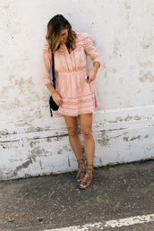 cella jane,blogger,dress,shoes,long sleeves,pink dress,nude dress,beige dress,mini dress,lace up flats,lace up,black bag,mini bag,summer dress,summer outfits,date outfit,caged sandals