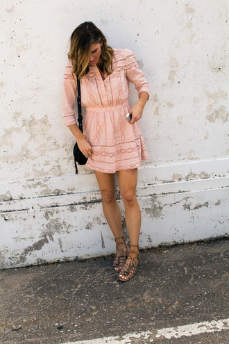 cella jane blogger dress shoes long sleeves pink dress nude dress beige dress mini dress lace up flats lace up black bag mini bag summer dress summer outfits date outfit caged sandals